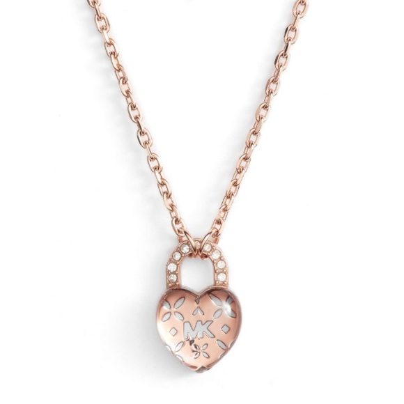 1154020cf Michael Kors Jewelry | Authentic Mk Rose Gold Heart Charm Necklace ...
